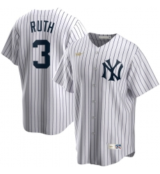Men New York Yankees 3 Babe Ruth Nike Home Cooperstown Collection Player MLB Jersey White