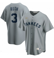 Men New York Yankees 3 Babe Ruth Nike Road Cooperstown Collection Player MLB Jersey Gray