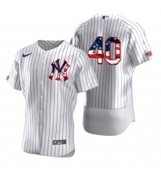 Men New York Yankees 40 Luis Severino Men Nike White Fluttering USA Flag Limited Edition Flex Base MLB Jersey