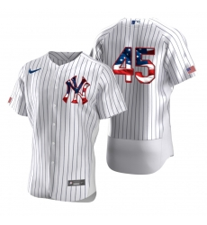 Men New York Yankees 45 Gerrit Cole Men Nike White Fluttering USA Flag Limited Edition Flex Base MLB Jersey