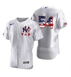 Men New York Yankees 54 Aroldis Chapman Men Nike White Fluttering USA Flag Limited Edition Flex Base MLB Jersey
