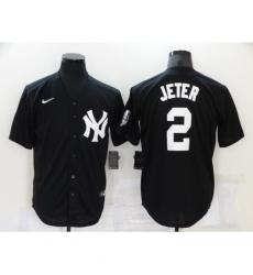 Men's New York Yankees #2 Derek Jeter Authentic Black Game Jersey
