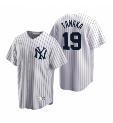Mens Nike New York Yankees 19 Masahiro Tanaka White Cooperstown Collection Home Stitched Baseball Jerse