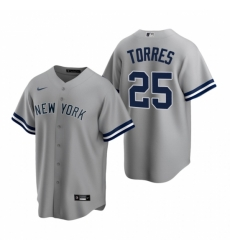 Mens Nike New York Yankees 25 Gleyber Torres Gray Road Stitched Baseball Jersey