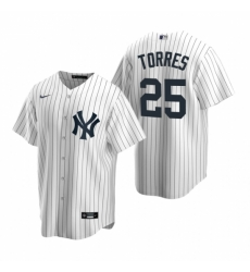 Mens Nike New York Yankees 25 Gleyber Torres White Home Stitched Baseball Jersey