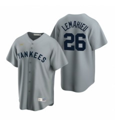 Mens Nike New York Yankees 26 DJ LeMahieu Gray Cooperstown Collection Road Stitched Baseball Jersey