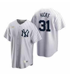 Mens Nike New York Yankees 31 Aaron Hicks White Cooperstown Collection Home Stitched Baseball Jerse