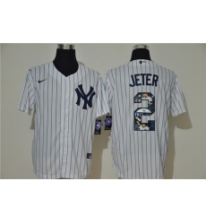 Yankees 2 Derek Jeter White Nike Cool Base Player Jersey