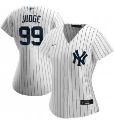 New York Yankees 99 Aaron Judge Nike Women Home 2020 MLB Player Name Jersey White