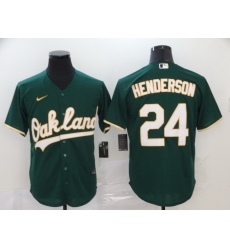 Athletics 24 Rickey Henderson Green 2020 Nike Cool Base Jersey