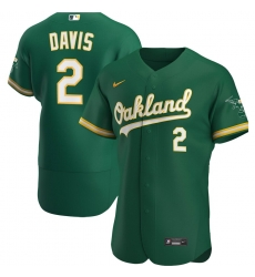 Men Oakland Athletics 2 Khris Davis Men Nike Kelly Green Alternate 2020 Flex Base Player MLB Jersey