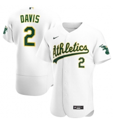 Men Oakland Athletics 2 Khris Davis Men Nike White Home 2020 Flex Base Player MLB Jersey