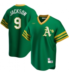 Men Oakland Athletics 9 Reggie Jackson Nike Road Cooperstown Collection Player MLB Jersey Kelly Green