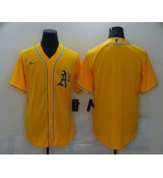 Men Oakland Athletics Blank Yellow Stitched MLB Cool Base Nike Jersey