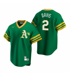 Mens Nike Oakland Athletics 2 Khris Davis Kelly Green Cooperstown Collection Road Stitched Baseball Jersey