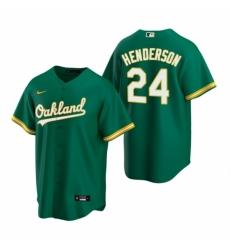 Mens Nike Oakland Athletics 24 Rickey Henderson Green Alternate Stitched Baseball Jerse