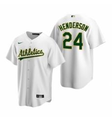 Mens Nike Oakland Athletics 24 Rickey Henderson White Home Stitched Baseball Jerse