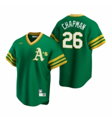 Mens Nike Oakland Athletics 26 Matt Chapman Kelly Green Cooperstown Collection Road Stitched Baseball Jersey