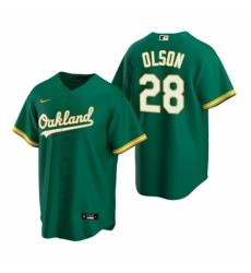 Mens Nike Oakland Athletics 28 Matt Olson Green Alternate Stitched Baseball Jersey