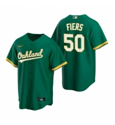 Mens Nike Oakland Athletics 50 Mike Fiers Green Alternate Stitched Baseball Jersey