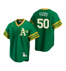 Mens Nike Oakland Athletics 50 Mike Fiers Kelly Green Cooperstown Collection Road Stitched Baseball Jersey