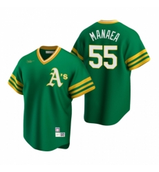Mens Nike Oakland Athletics 55 Sean Manaea Kelly Green Cooperstown Collection Road Stitched Baseball Jersey