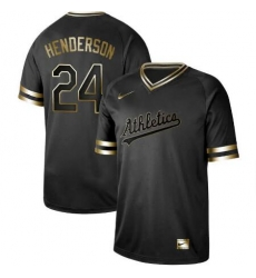 Oakland Athletics  24 Ricky Henderson Oakland Athletics Black Golden Jersey