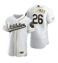 Oakland Athletics 26 Matt Chapman White Nike Mens Authentic Golden Edition MLB Jersey