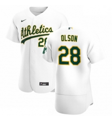 Oakland Athletics 28 Matt Olson Men Nike White Home 2020 Authentic Player MLB Jersey