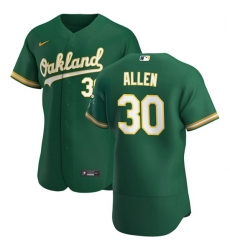 Oakland Athletics 30 Austin Allen Men Nike Kelly Green Alternate 2020 Authentic Player MLB Jersey