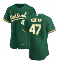 Oakland Athletics 47 Frankie Montas Men Nike Kelly Green Alternate 2020 Authentic Player MLB Jersey