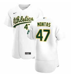 Oakland Athletics 47 Frankie Montas Men Nike White Home 2020 Authentic Player MLB Jersey