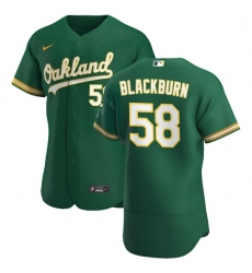 Oakland Athletics 58 Paul Blackburn Men Nike Kelly Green Alternate 2020 Authentic Player MLB Jersey