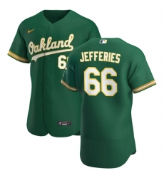 Oakland Athletics 66 Daulton Jefferies Men Nike Kelly Green Alternate 2020 Authentic Player MLB Jersey