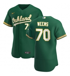 Oakland Athletics 70 Jordan Weems Men Nike Kelly Green Alternate 2020 Authentic Player MLB Jersey