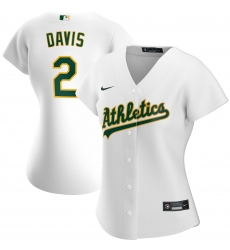 Oakland Athletics 2 Khris Davis Nike Women Home 2020 MLB Player Jersey White