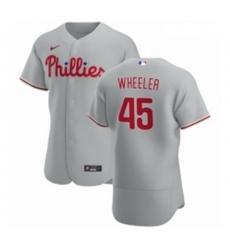 Men Philadelphia Phillies 45 Zack Wheeler Men Nike Gray Road 2020 Authentic Player MLB Jersey