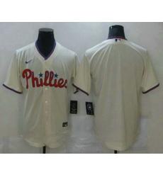Men Philadelphia Phillies Blank Cream Stitched MLB Cool Base Nike Jersey