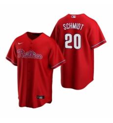 Mens Nike Philadelphia Phillies 20 Mike Schmidt Red Alternate Stitched Baseball Jerse