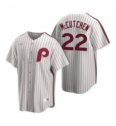 Mens Nike Philadelphia Phillies 22 Andrew McCutchen White Cooperstown Collection Home Stitched Baseball Jersey