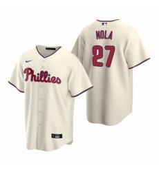 Mens Nike Philadelphia Phillies 27 Aaron Nola Cream Alternate Stitched Baseball Jerse