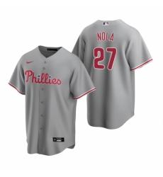 Mens Nike Philadelphia Phillies 27 Aaron Nola Gray Road Stitched Baseball Jerse