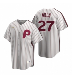 Mens Nike Philadelphia Phillies 27 Aaron Nola White Cooperstown Collection Home Stitched Baseball Jerse