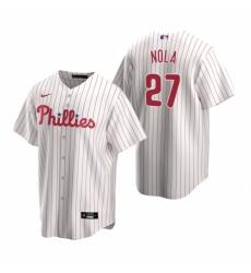 Mens Nike Philadelphia Phillies 27 Aaron Nola White Home Stitched Baseball Jerse