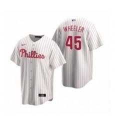 Mens Nike Philadelphia Phillies 45 Zack Wheeler White Home Stitched Baseball Jersey