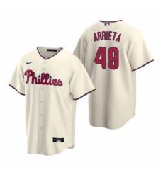Mens Nike Philadelphia Phillies 49 Jake Arrieta Cream Alternate Stitched Baseball Jersey