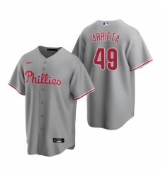 Mens Nike Philadelphia Phillies 49 Jake Arrieta Gray Road Stitched Baseball Jersey
