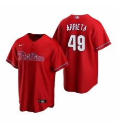 Mens Nike Philadelphia Phillies 49 Jake Arrieta Red Alternate Stitched Baseball Jersey