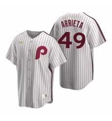 Mens Nike Philadelphia Phillies 49 Jake Arrieta White Cooperstown Collection Home Stitched Baseball Jersey