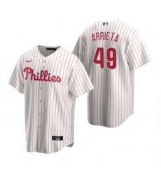 Mens Nike Philadelphia Phillies 49 Jake Arrieta White Home Stitched Baseball Jersey